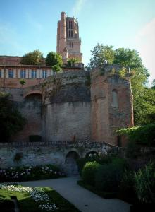 Albi - Flowerbeds in the Berbie palace gardens and bell tower of the Sainte-Cécile cathedral
