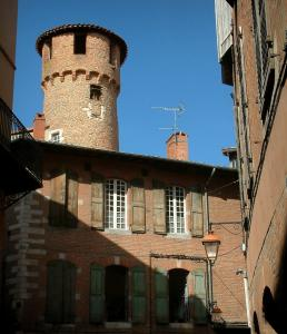 Albi - Tower and brick-built houses