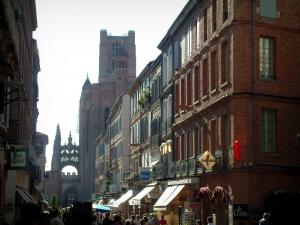 Albi - Shopping street lined with houses and view of the Sainte-Cécile cathedral