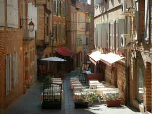 Albi - Street with restaurant terrace and brick-built houses