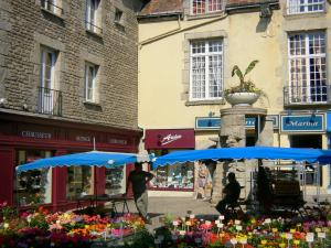 Alençon - Flower stand on the market and facades of houses in the old town