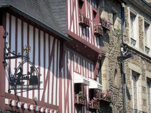 Alençon - Forged iron signs and facades of houses in the old town