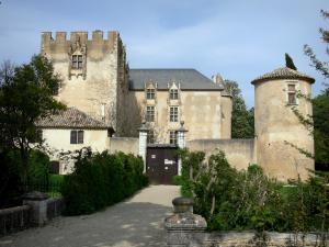 Allemagne-en-Provence castle - Crenellated keep, Renaissance facades with mullioned windows and round tower
