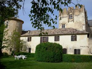 Allemagne-en-Provence castle - Crenellated keep, house, round tower and garden