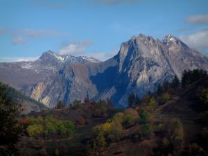 Alps landscapes in the Savoie - Trees with autumn colours and mountains
