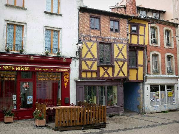 Ambert - Facades of houses, one timber-framed house, old town; in the Regional Natural Park Livradois-Forez