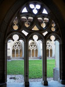 Ambronay abbey - Former Benedictine abbey (Cultural centre): arches of the Gothic cloister