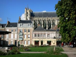 Amiens - Notre-Dame cathedral of Gothic style, houses, square decorated with flowers and lawn