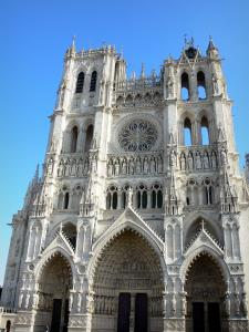 Amiens - Facade of the Notre-Dame cathedral of Gothic style