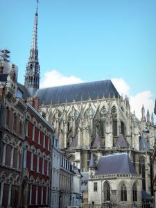 Amiens - Tower and chevet of the Notre-Dame cathedral (Gothic style) and buildings of the city