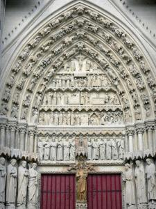 Amiens - Notre-Dame cathedral (Gothic style): tympanum of the South portal, golden Virgin gate