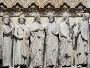 Amiens - Notre-Dame cathedral (Gothic style): sculptures of the tympanum of the South portal