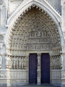 Amiens - Notre-Dame cathedral (Gothic style): central hall, tympanum