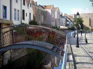 Amiens - Saint-Leu district: small bridges spanning the canal, houses along the water, lampposts