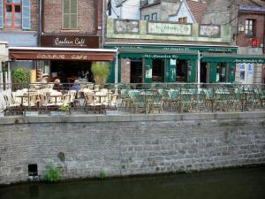 Amiens - Saint-Leu district: houses and cafe terraces on the edge of the canal