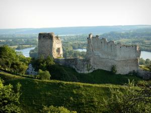 Les Andelys - Remains of Château-Gaillard (perched medieval fortress) overlooking the Seine valley (River Seine)