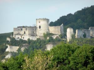 Les Andelys - Remains of Château-Gaillard (medieval castle) surrounded by greenery