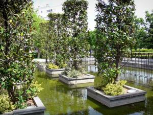 André Citroën park - Flowerbeds and shrubs surrounded by water