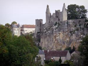 Angles-sur-l'Anglin - Ruins of the fortified castle (medieval fortress) on a rocky mountain spur, houses of the village and trees