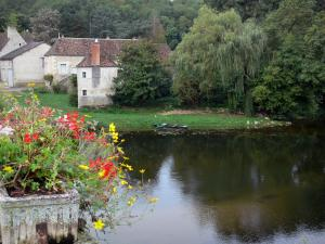 Angles-sur-l'Anglin - Flowers in foreground, Anglin river, boats, trees along the water and houses of the village