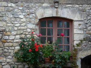 Angles-sur-l'Anglin - Window decorated with flowers and roses (rosebush)
