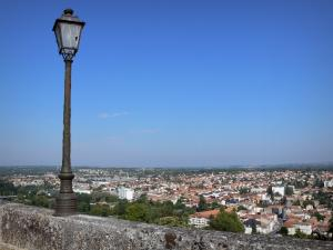 Angoulême - Ramparts of the upper town, view of the houses and buildings of the low city (Charente valley), lamppost in foreground