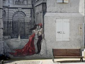 Angoulême - Mural and bench