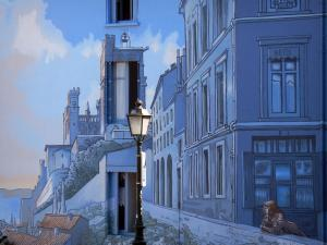Angoulême - Mural, windows of a house and a lamppost