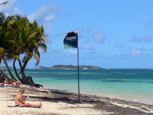 Anse Michel - Relaxing on the sandy beach; in the municipality of Sainte-Anne