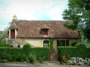 Apremont-sur-Allier - House in the village with tree, plants and flowers