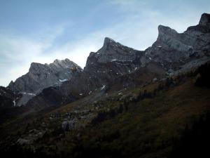 Aravis massif - Forest, summits and rock faces of the Aravis mountain range