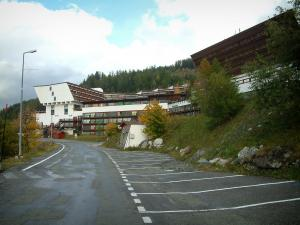 Les Arcs - Parking and modern buildings of the Arc 1600 ski resort (winter sports, peripheral zone of the Vanoise national park)