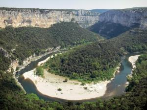Ardèche gorges - View of the canyon limestone cliffs and the bend of River Ardèche from the Templiers balcony