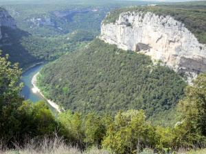 Ardèche gorges - Forests and limestone cliffs overlooking River Ardèche