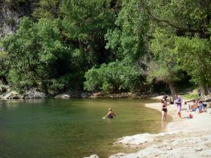 Ardèche gorges - Beach of the Pont d'Arc with vacationers and trees along River Ardèche