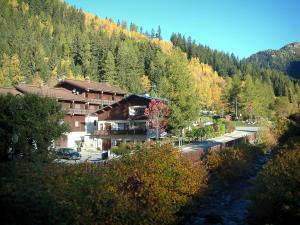 Argentière - River, chalets of the village (ski resort), trees and forest in autumn
