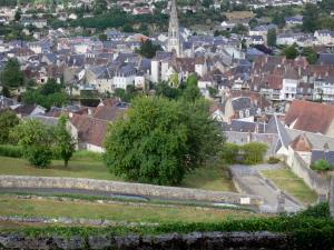 Argenton-sur-Creuse - From the terrace of the Bonne-Dame chapel, view of the bell tower of the Saint-Sauveur church and houses of the old town below