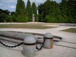 Armistice clearing - In the Compiègne forest (near the village of Rethondes), railroad and statue of marshal Foch