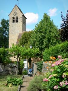 Asnières-sur-Vègre - Flower garden overlooking the bell tower of the Saint-Hilaire church