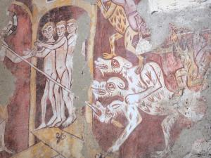 Asnières-sur-Vègre - Inside the Saint-Hilaire church: medieval wall painting: scene from hell