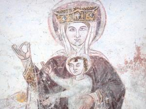 Asnières-sur-Vègre - Inside the Saint-Hilaire church: medieval wall painting: Madonna and Child