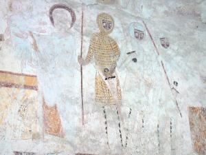 Asnières-sur-Vègre - Inside the Saint-Hilaire church: medieval wall painting: Presentation at the Temple - Flight into Egypt