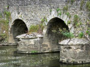 Asnières-sur-Vègre - Old Romanesque bridge spanning over River Vègre