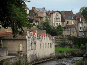 Aubusson - The River Creuse, the building and houses of the city