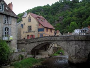 Aubusson - The Terrade bridge, the River Creuse and houses of the city
