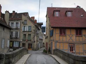 Aubusson - Bridge of Terrade and houses of the city