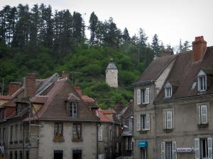 Aubusson - The Horloge tower (former watchtower), trees and houses of the city