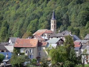 Aulus-les-Bains - Bell tower of the church, houses of the village (spa town) and trees; in the Ariège Pyrenees Regional Nature Park, in the Garbet valley