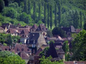 Autoire - Houses of the village and trees, in the Quercy