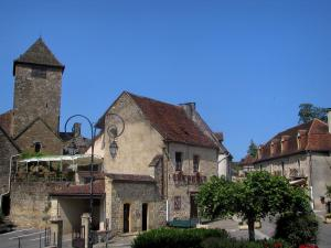 Autoire - Church bell tower and houses of the village, in the Quercy